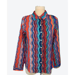 Multicolored Hippy Style Blouse Size Med